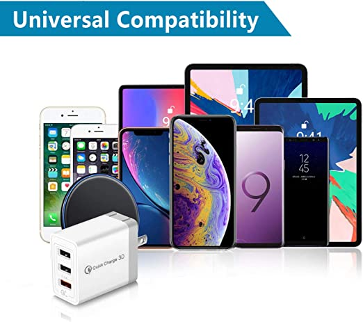 QC3.0+Dual 2.4A GEEKSOUL Quick Charge 3.0,30W 3 Ports Wall Charger 2-Pack LG G4 iPhone Note 8//7 Fast Charging Compatible for Samsung Galaxy S10//S9//S8//Edge//Plus HTC One A9//M9 iPad and More