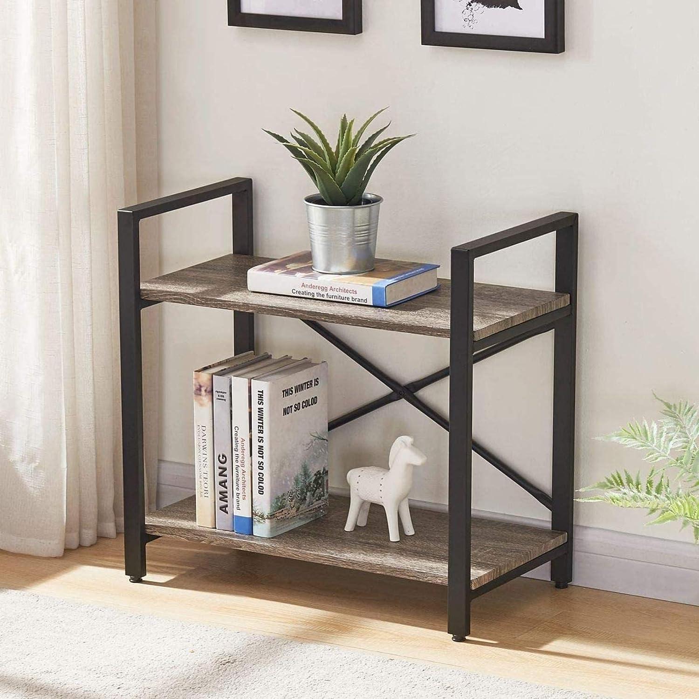 MITPATY Bookshelf 2 Tier Bookcase, Modern Narrow Book Shelf and Book Case, Industrial Wood Shelving Unit, Decorative Organizer for Home Studio Apartment