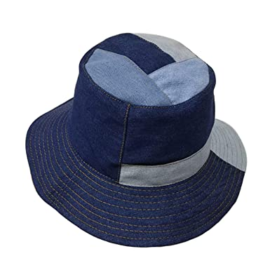 682edc02ca533 Denim Bucket Hat Women Patchwork Navy Blue Fishing Caps Casual Wide Brim  Foldable Vintage Autumn Bob Sun Hats at Amazon Women s Clothing store