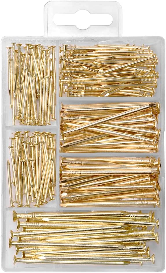 HangDone Nails Assortment 250-Pieces 4 Sizes, Brass Plated