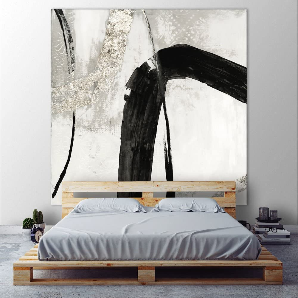 Giant Art Black Ink II Huge Contemporary Abstract Giclee Canvas Print for Office Home Wall Decor Stretcher, 54 x 54