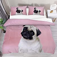 Ultra Soft Duvet Cover King Size Zipper Closure Cute Pug and Puppy Dog Pattern Pink 3 Pcs Breathable Microfiber Quilt…