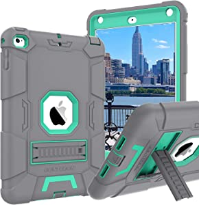 iPad Mini 4 Case,iPad Mini 4 Retina Case,BENTOBEN 3 in 1 Hybrid [Soft&Hard] Heavy Duty Rugged Stand Cover Shockproof Anti-Slip Anti-Scratch Full-Body Protective Cases for iPad Mini 4,Gray/Mint Green