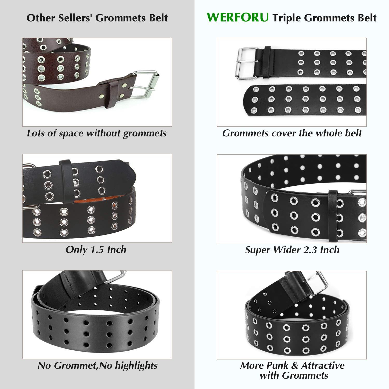 WERFORU Double Grommet Belt PU Leather Punk Belt for Women Jeans 2 Hole Belts 1.5Inch Wide