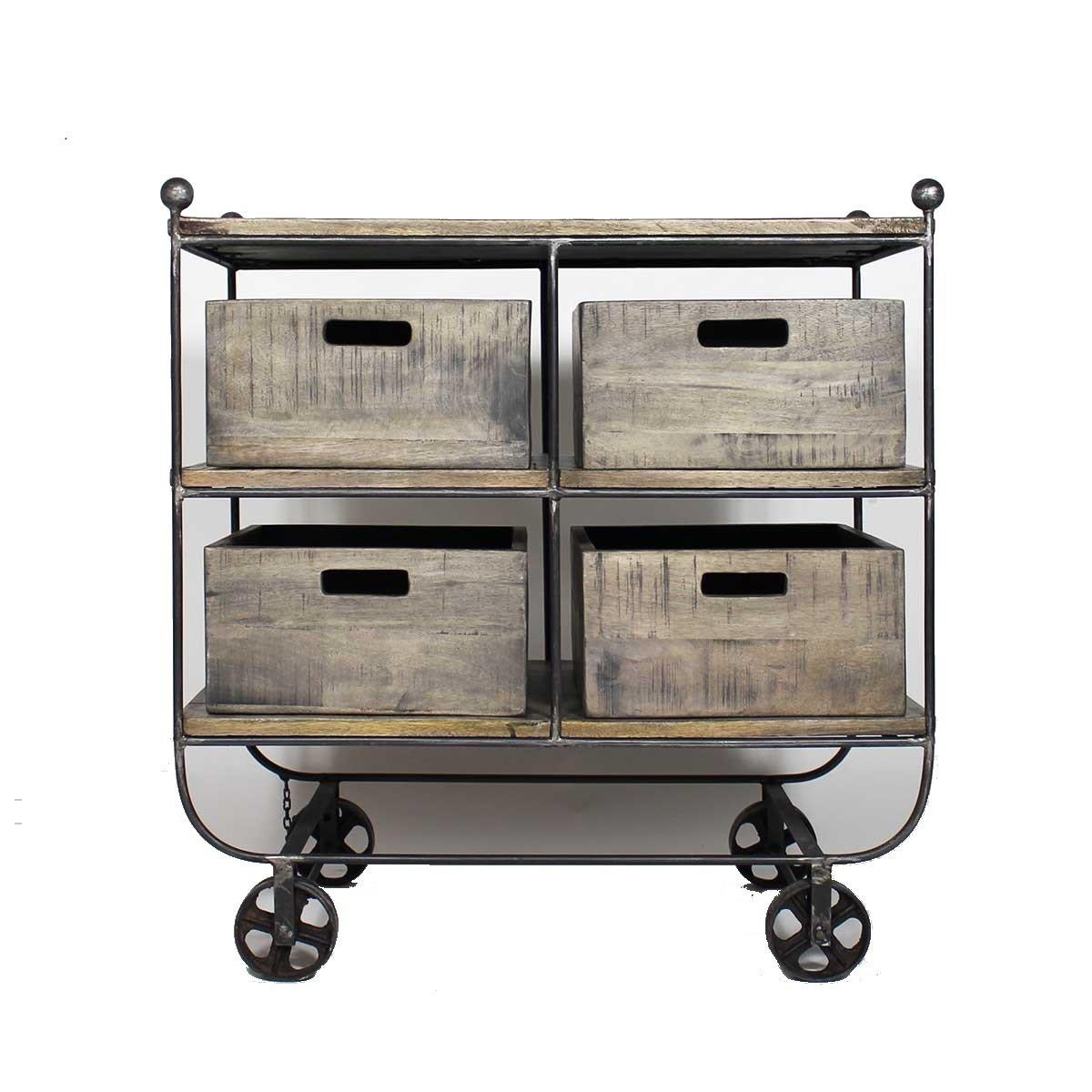 Made in Möbel DS5Konsole Industrielle mit 4Schubladen Metall/Holz braun 53x 91x 95cm