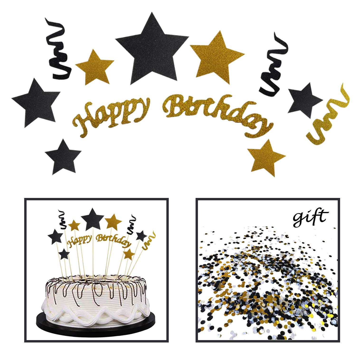 1 PCS Confetti for Party Decoration by SeasonskyCake Decoration 1 Pack Happy Birthday Cake Bunting Cake Topper Black and Gold Handmade Black and Gold Glitter Star Cake Decoration