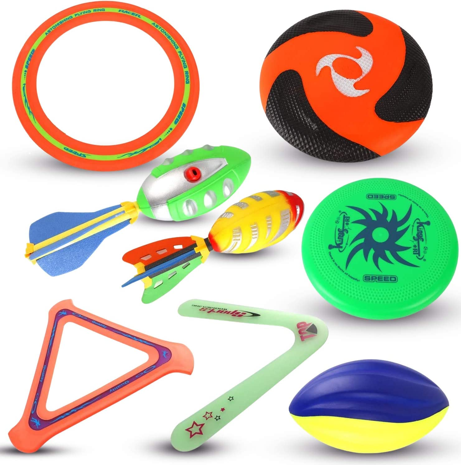 Liberty Imports 8 in 1 Ultimate Outdoor Sports Combo Play Set   Foam Football, Plastic Flying Discs, Aero Rings, Boomerang and Whistling Football   Backyard Toys and Summer Activities for Kids