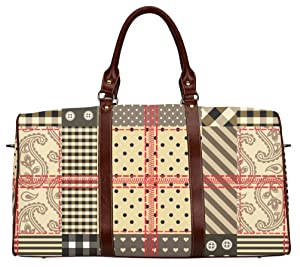 Popular Waterproof Canvas Travel Bag Luggage Tote Bag with Checkered Quilting Design