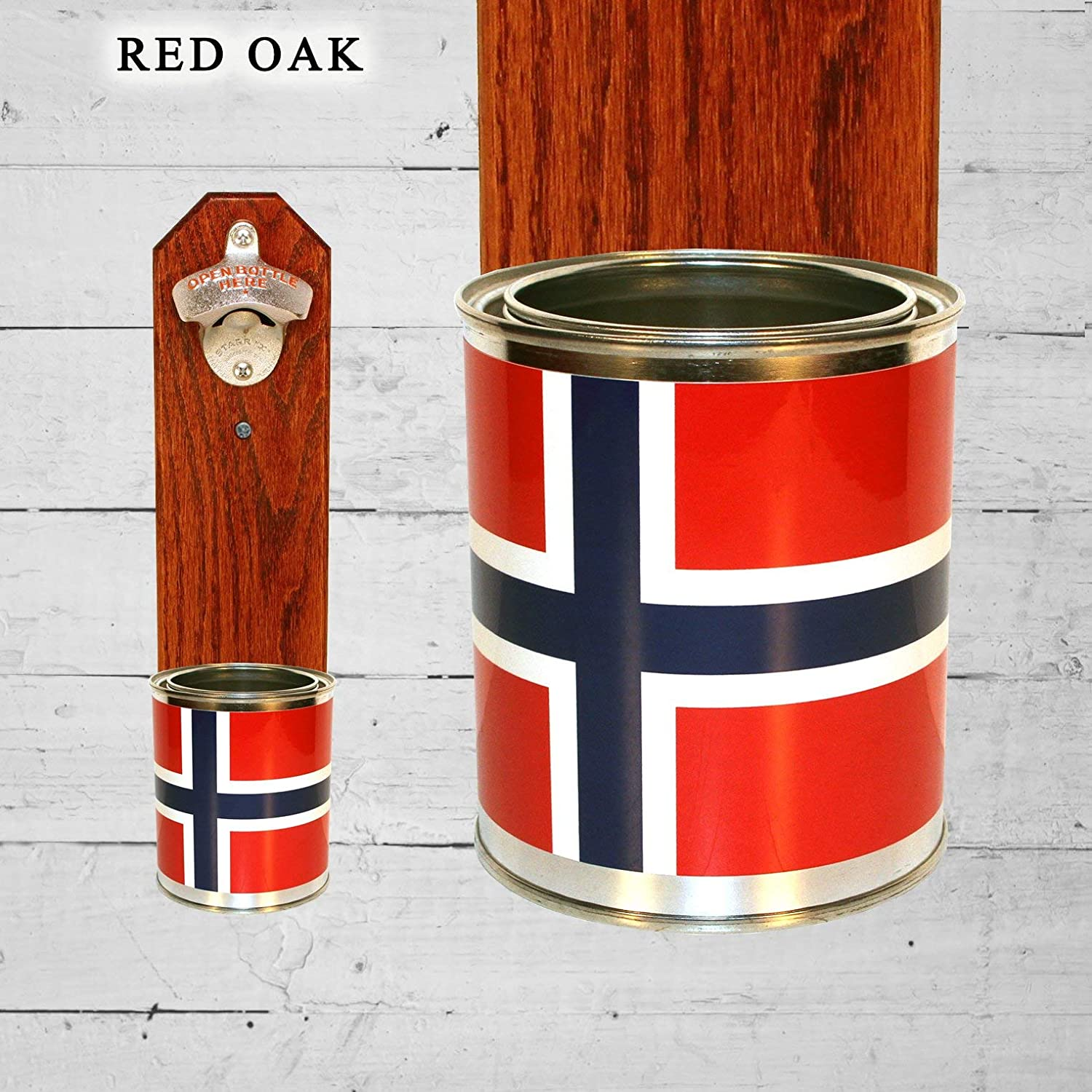 Wall Mounted Bottle Opener with Norway Flag Tin Can Beer Cap Catcher