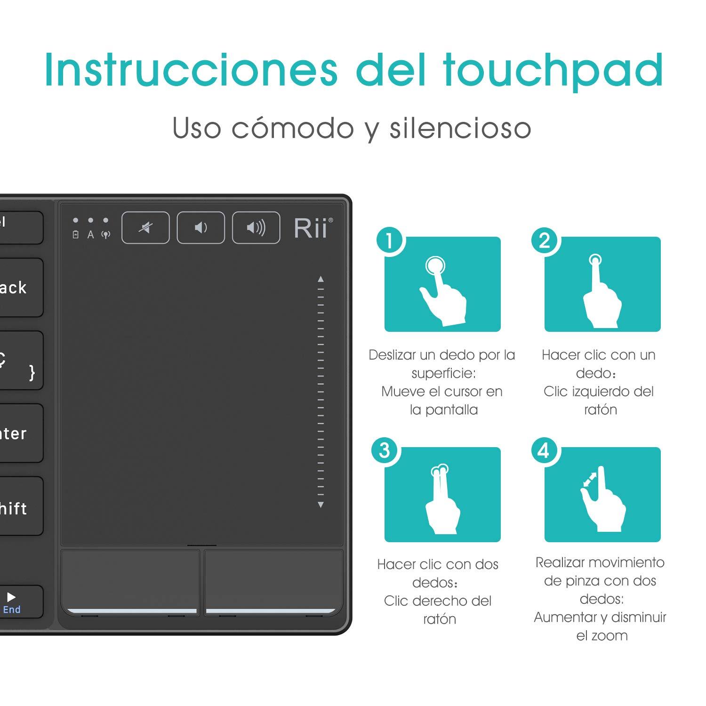 Rii Mini Teclado touchpad K22 tecado inalámbrico 2.4Ghz con Cubierta de aleación de Aluminio Resistente, QWERTY español,Compatible con SmartTV y PC: ...