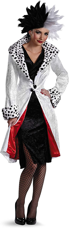 Robe Et Perruque /& Gants Dalmation Costume Cruella Deville Devil