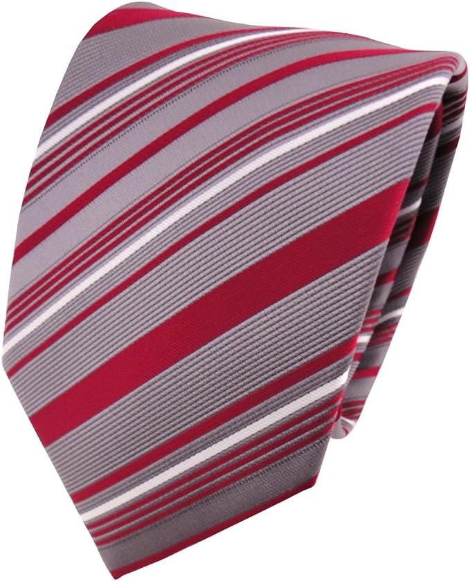 TigerTie - Corbata - rojo frambuesa-roja blanco plata gris rayas ...