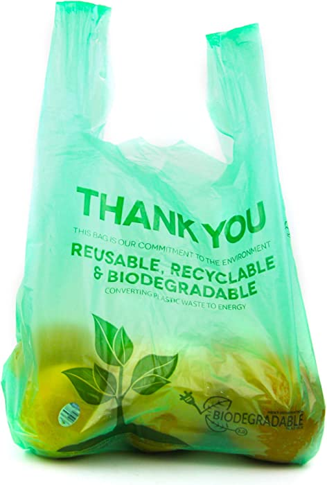 [100 Pack] 1/6 Size Biodegradable Reusable Plastic T-Shirt Bag Eco Friendly Compostable Grocery Shopping Thank You Recyclable Trash Basket Bags