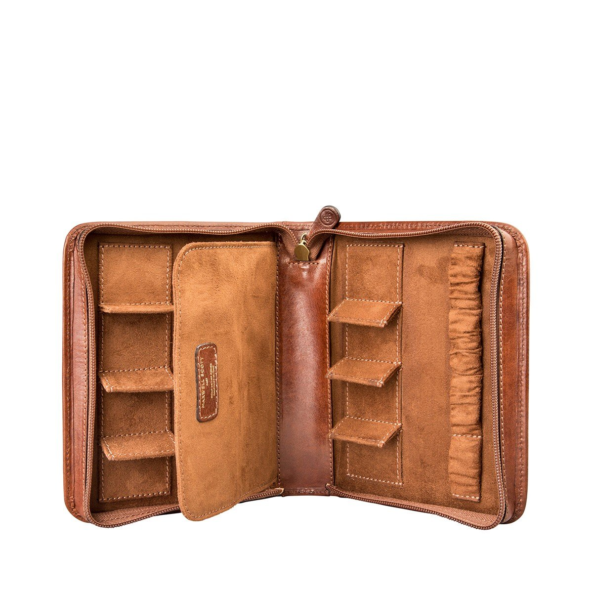 Maxwell Scott Bags® Cognac Braune Leder Uhrenschatulle (Atella)