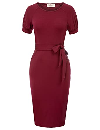 954f848c6a Womens Midi Length Round Neck Short Sleeve Formal Pencil Dress Size S  Burgundy