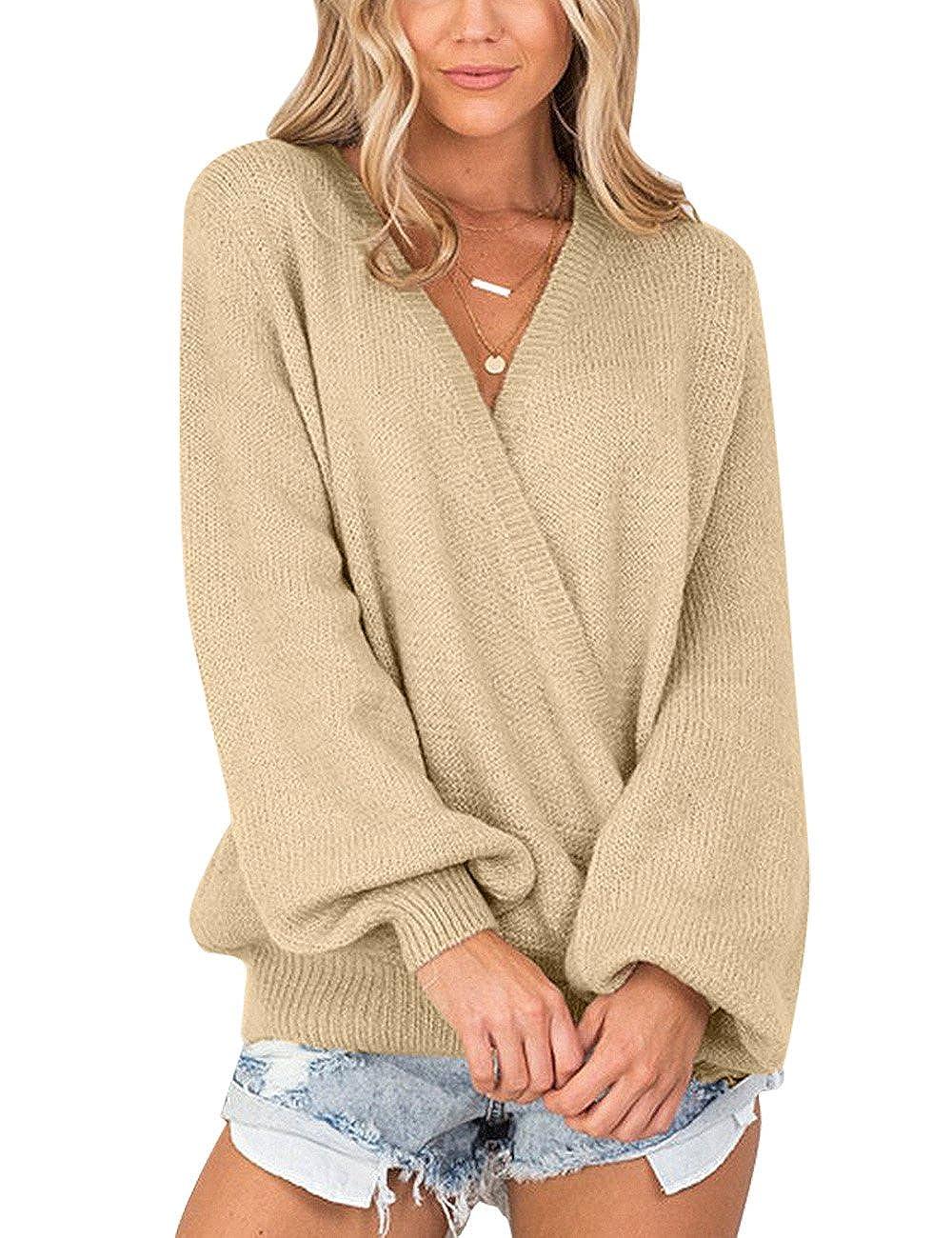 Lookbook Store Women s Knit Long Sleeve Faux Wrap Surplice V Neck Sweater  Top at Amazon Women s Clothing store  b3bdfda1f