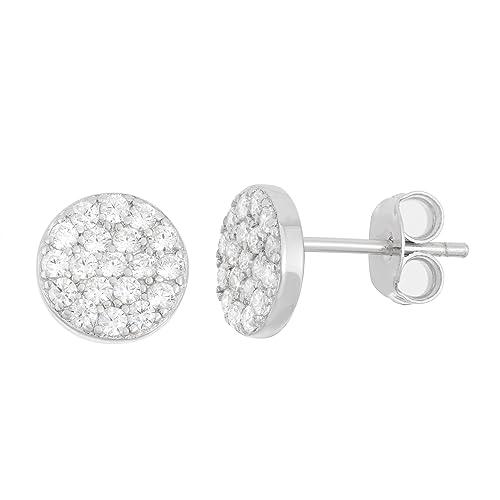 e16d822c5 Sterling Silver CZ Flat Circle Disc Stud Earrings: Amazon.ca: Jewelry