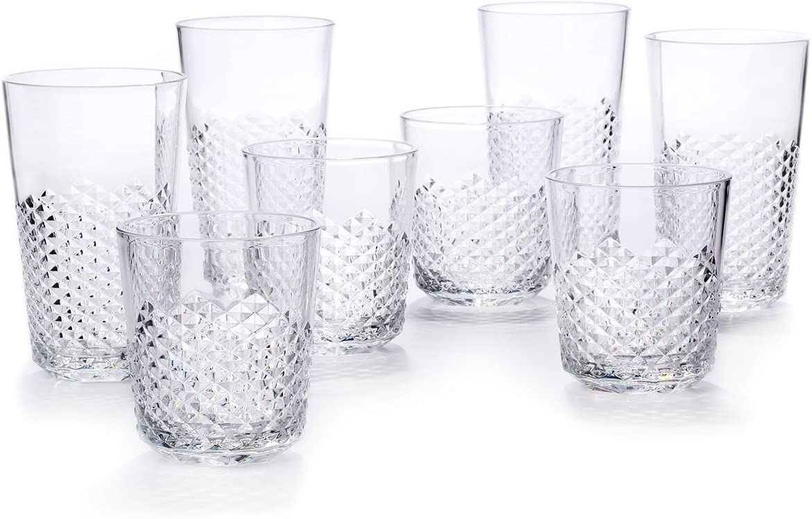 Cupture Diamond Plastic Tumblers BPA Free, 24 oz/14 oz, 8-Pack (Clear)