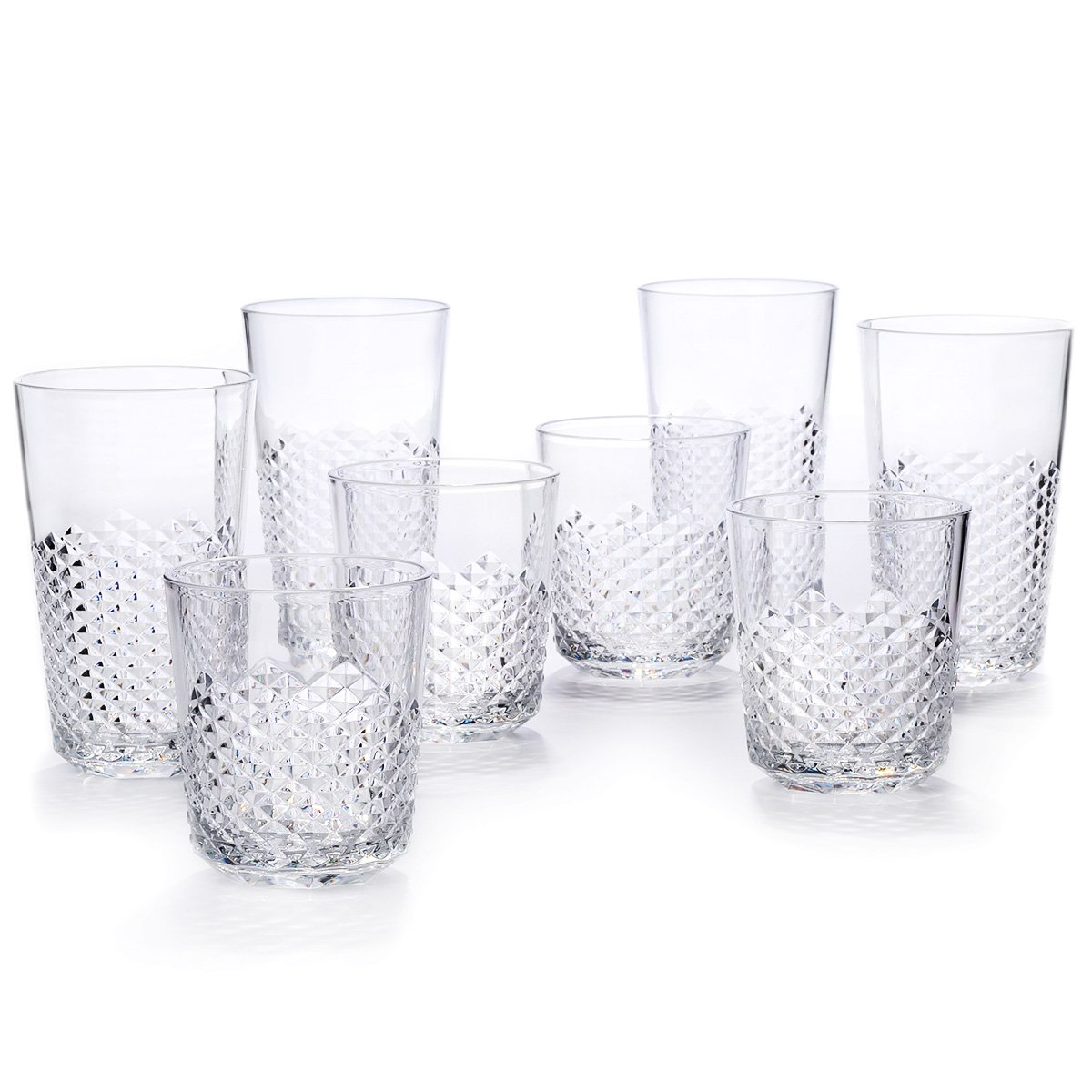 Cupture Diamond Plastic Tumblers BPA Free, 24 oz / 14 oz, 8-Pack (Clear) by Cupture (Image #1)