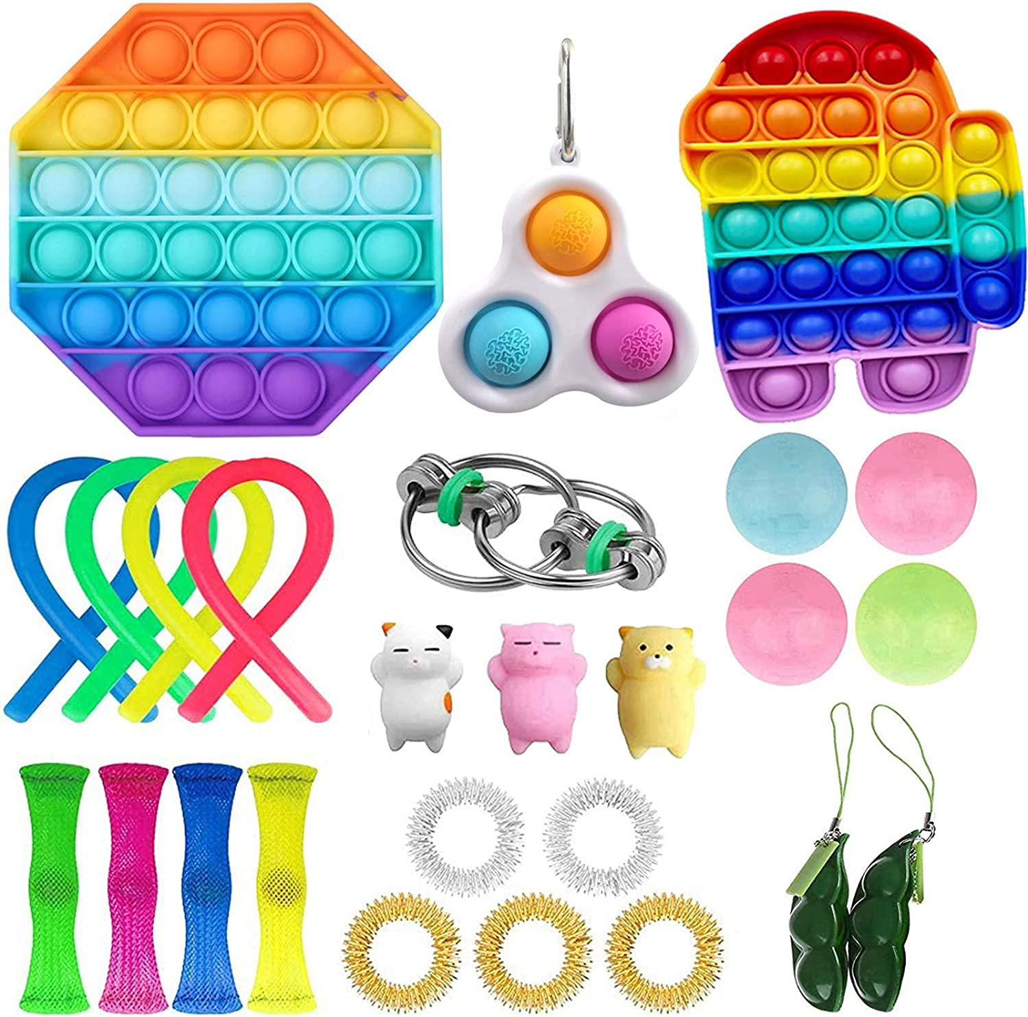 LWXQWDS 30 Pc Fidget Toys Pack, Fidget Toy Set Sensory Toy Pack Cheap for Kids Adults Simple Dimple in It, Stress Relief Toys for Anxiety (26 Pcs)