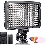 Luz de Video LED, ESDDI 176 LED Ultra Brillante Regulable CRI 95+ Luz de Cámara con Juego de Baterías NP-F550 y 5…