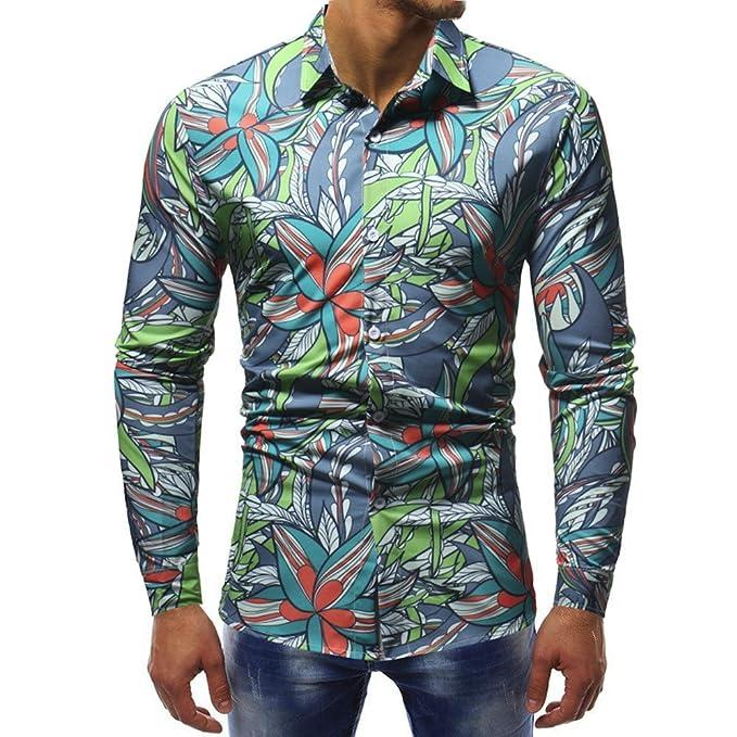 Camicia Floreale Hawaiana Uomo Maniche Lunghe LandFox Slim Fit Camicie  Casual da Uomo Manica Lunga Stampa 246846ff0bd