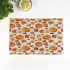 rouihot Set of 8 Placemats Brown Fall Thanksgiving Autumn Colorful Harvest Pattern Acorns Apples Non-Slip Doily Place Mat for Dining Kitchen Table