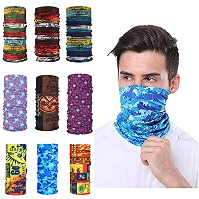 Simayixx 9PCS Bandanas Magic Scarf Outdoor Headwear Neck Gaiter Sun UV Protection Face Cover for Workout Hiking Running (B, Free Size): Clothing