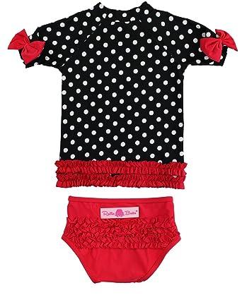 170b48dca1 RuffleButts Girls Red   Black Polka Dot Ruffled Rash Guard Bikini - Red Black  -