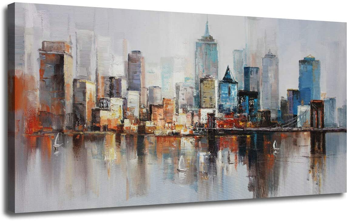 Canvas Wall Art Prints Modern Abstract Cityscape Brooklyn Bridge Painting Stretched and Framed Modern Colorful New York Skyline Buidlings Picture for Home Office Decor 48