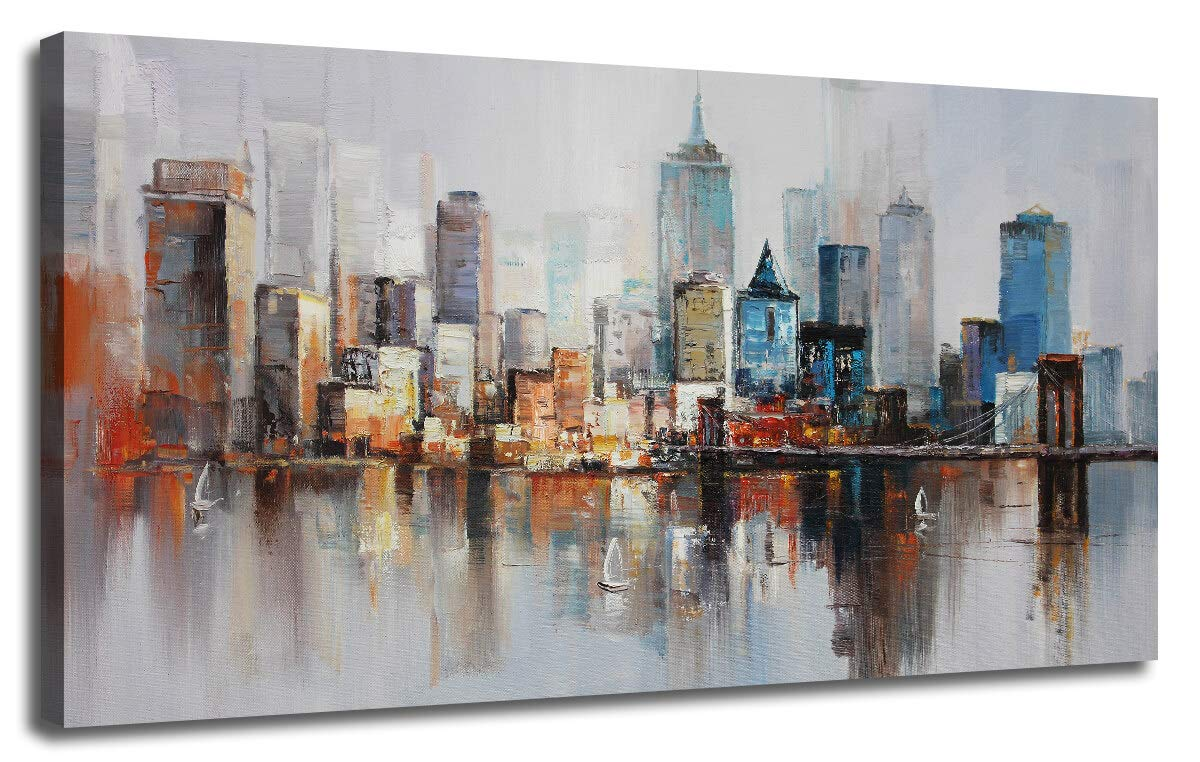 "Canvas Wall Art Prints Modern Abstract Cityscape Brooklyn Bridge Painting Stretched and Framed Modern Colorful New York Skyline Buildings Picture for Home Office Decor 40""x20"", Original Design"