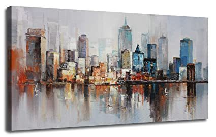 Canvas Wall Art Prints Modern Abstract Cityscape Brooklyn Bridge Painting Stretched And Framed Modern Colorful New York Skyline Buidlings Picture For