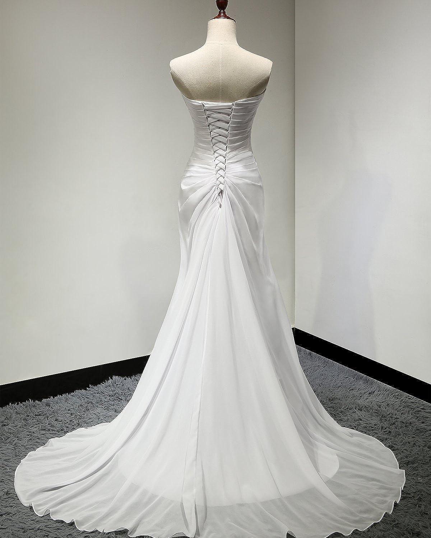 SOLOVEDRESS Womens Sweetheart Beaded Pleat Chffion Beach Wedding Dresses A Line Bridal Gown