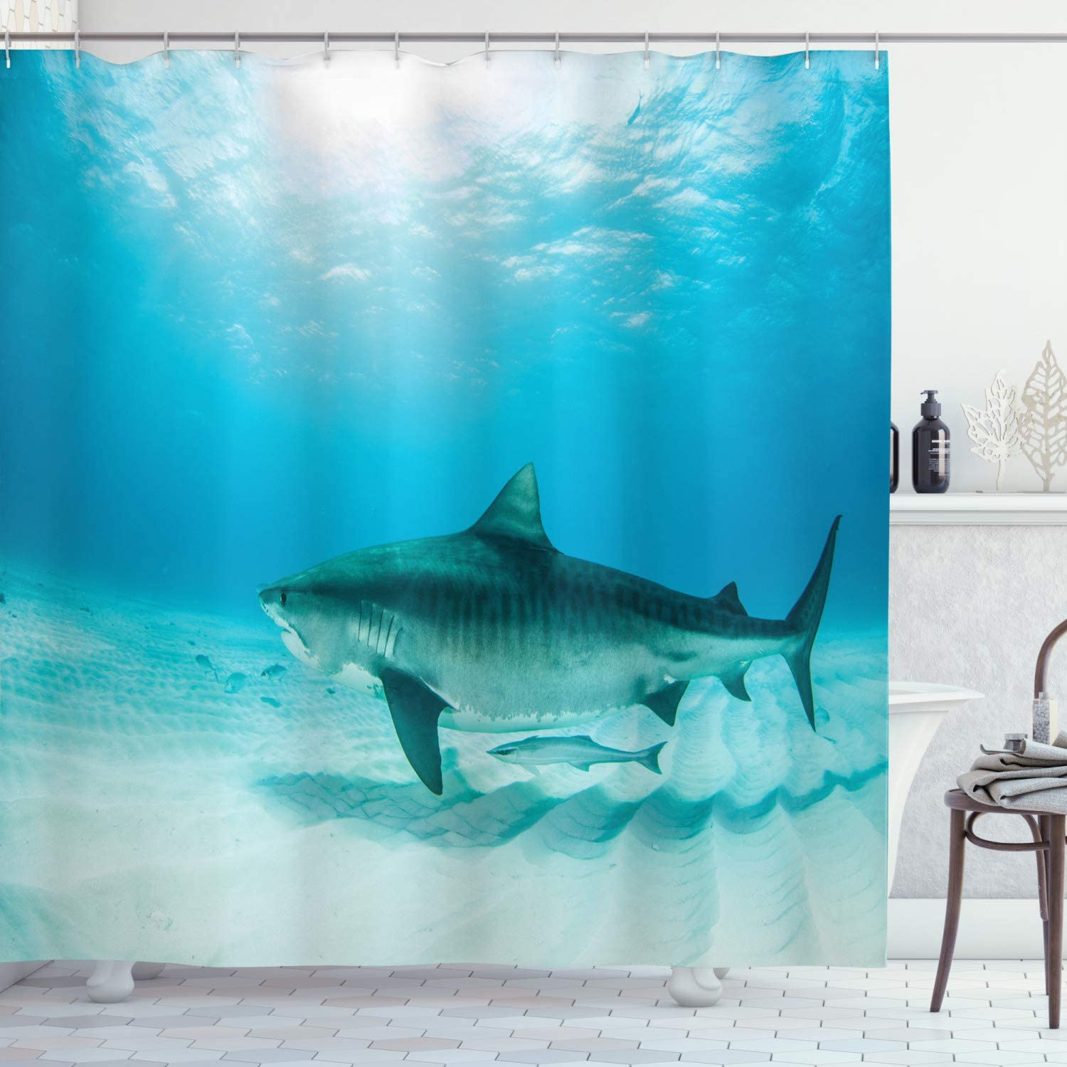 """Ambesonne Shark Shower Curtain, Tiger Shark at The Bottom of The Ocean Danger Wild Life Nature Image Print, Cloth Fabric Bathroom Decor Set with Hooks, 70"""" Long, Turquoise Yellow"""