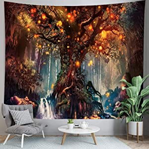 PuzCub Trippy Forest Tapestry Magical Fantasy Big Tree Plant Mural Wall Hanging Tapestry for Picnic Beach Blanket bedrooms Living Room Décor