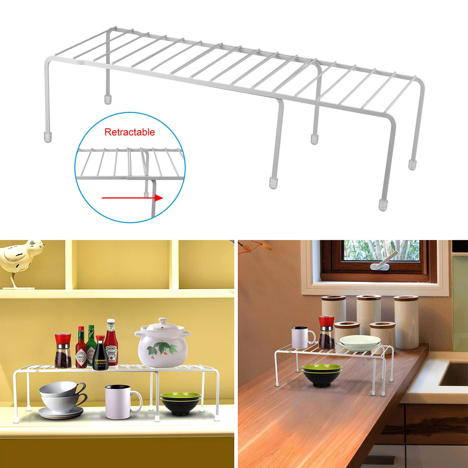 GPCT Expandable Kitchen Counter & Cabinet Shelf Organizer. Adjustable Pantry Countertop Storage Shelves- for Dishes/Dinnerware/Cookware/Spices/Canned Food/Tea Tins/Laundry. 33 lbs Capacity- White