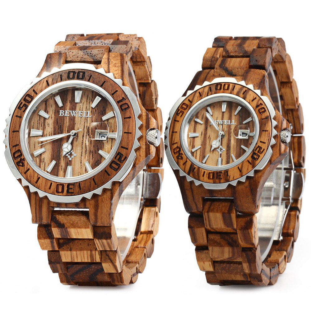 Bewell ZS-100B Couple Wooden Quartz Watch Men and Women 30M Water Resistance Date Display Fashion Watches (FBA)