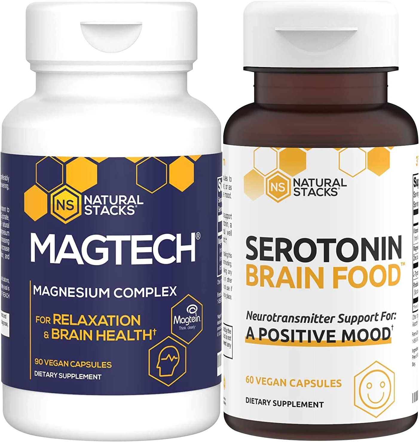 Natural Stacks Supplements Bundle - MagTech Magnesium (90ct) and Serotonin Brain Food (60ct) - Improved Focus, Memory and Motivation, Better Mood and Relaxation
