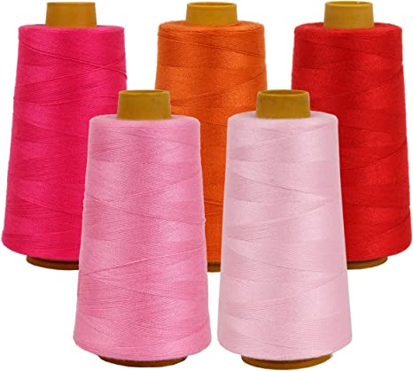Five Hundred Yard Sewing Machine Polyester Thread  Packs Of Five