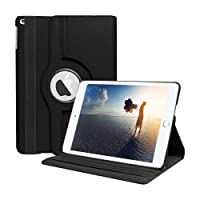Caseous 360 Rotate Synthetic Leather Flip Cover Case for Apple iPad 9.7 2017 2018 (Black)