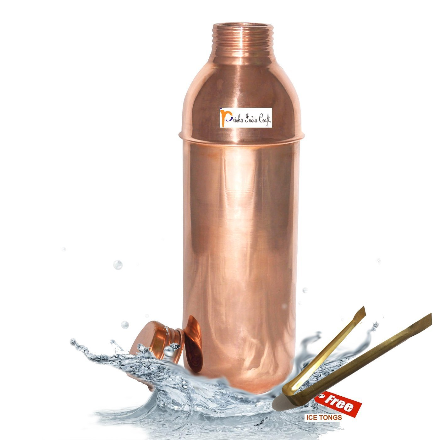 800ml / 27oz - Prisha India Craft ® Pure Copper Water Pitcher for the Refrigerator for Health Benefits Thermos Flask Indian Water Carafe - Handmade Christmas Gift