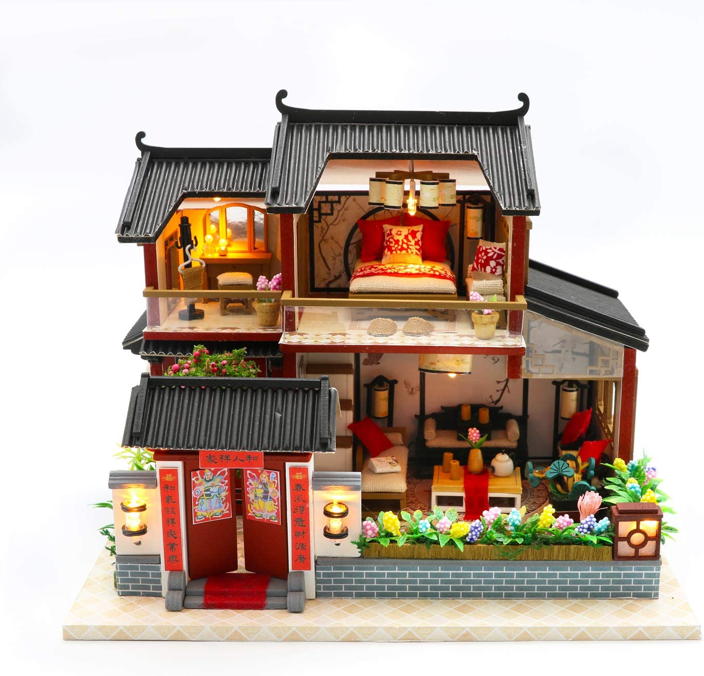 Cool Beans Boutique Miniature DIY Dollhouse Kit - Wooden Asian Dollhouse Traditional Home - with Dust Cover - Architecture Model kit (English Manual) (Asian Traditional Home)
