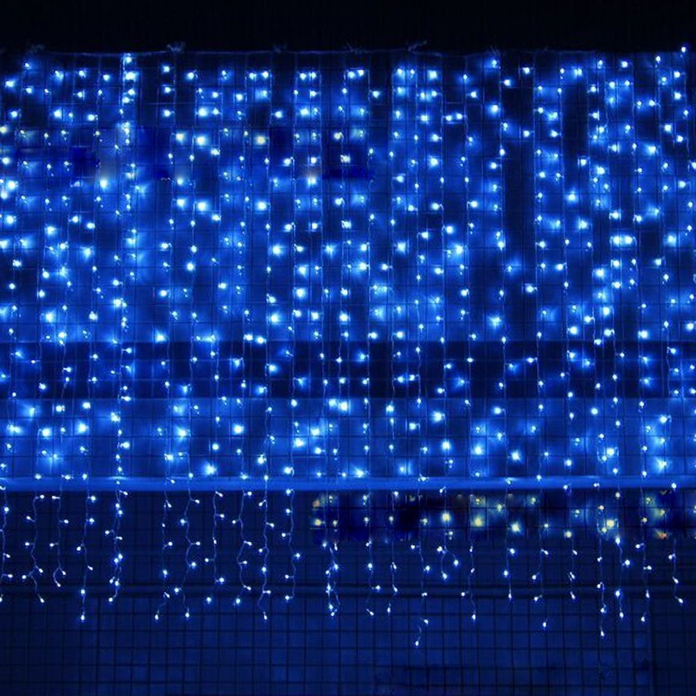 Bjour BGGD-33 18W Curtain Icicle Lights Christmas String Fairy Light Blue, 300 LEDs, 8 Lighting Modes, 9.84ft Length x 9.84ft Width