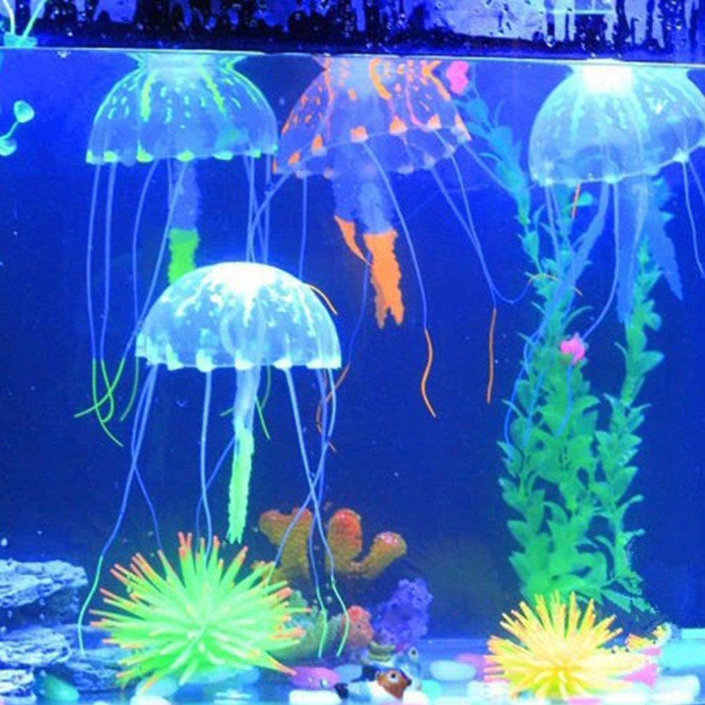 Befaith Efecto Brillante Acuario de pescado de medusas artificiales Decoraci/ón de acuario mini ornamento submarino azul 5x15cm