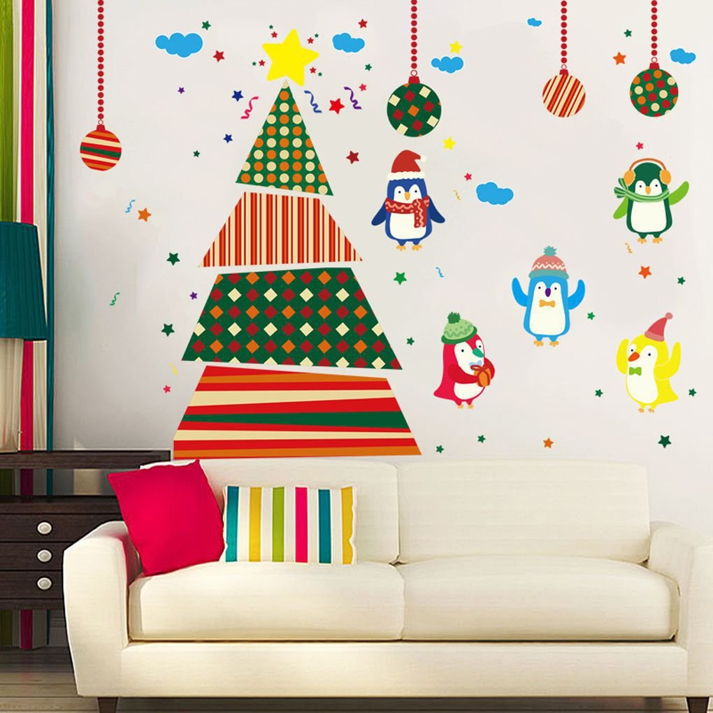 Xuanhemen Christmas Tree Wall Stickers Removable PVC Decoration Christmas Stickers Holiday Gift for Window Glass Door Dcoration AMZxuan734