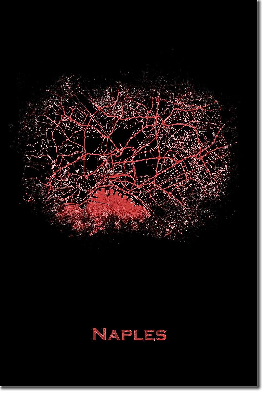 Naples Dimensioni: 30 x 20 cm Stampa Artistica Fotografico Poster Art Regalo Map Italy Design Originale Della Mappa Red Splatter