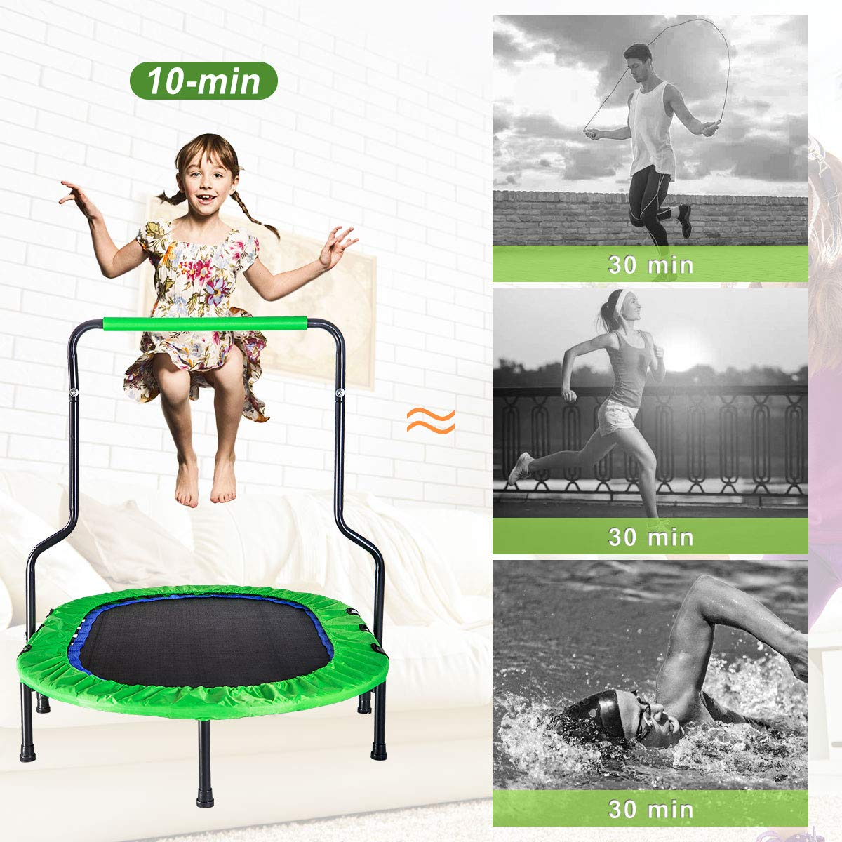 Merax Mini Rebounder Trampoline with Handle for Two Kids, Parent-Child Trampoline (Green) by Merax (Image #6)