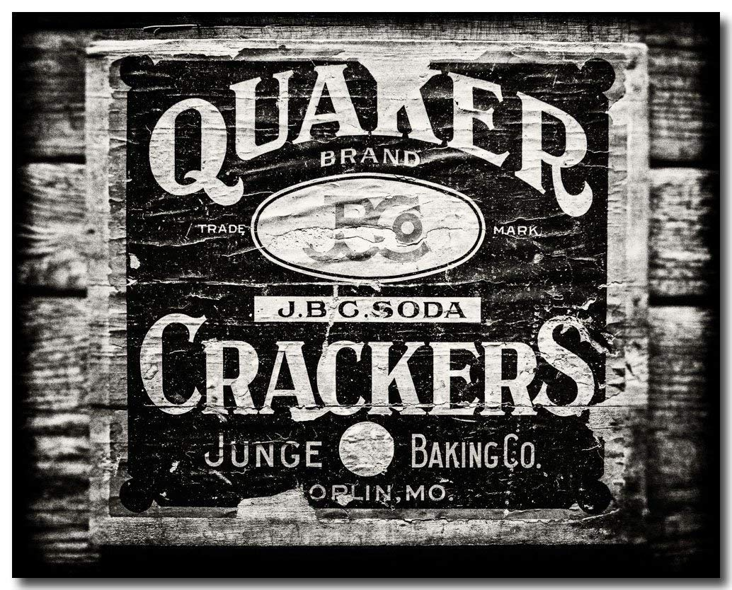 Amazon Com Black And White Rustic Kitchen Decor Not Framed Vintage Quaker Crackers Sign Antique Kitchen Art 8x10 11x14 Or 16x20 Fbml Handmade