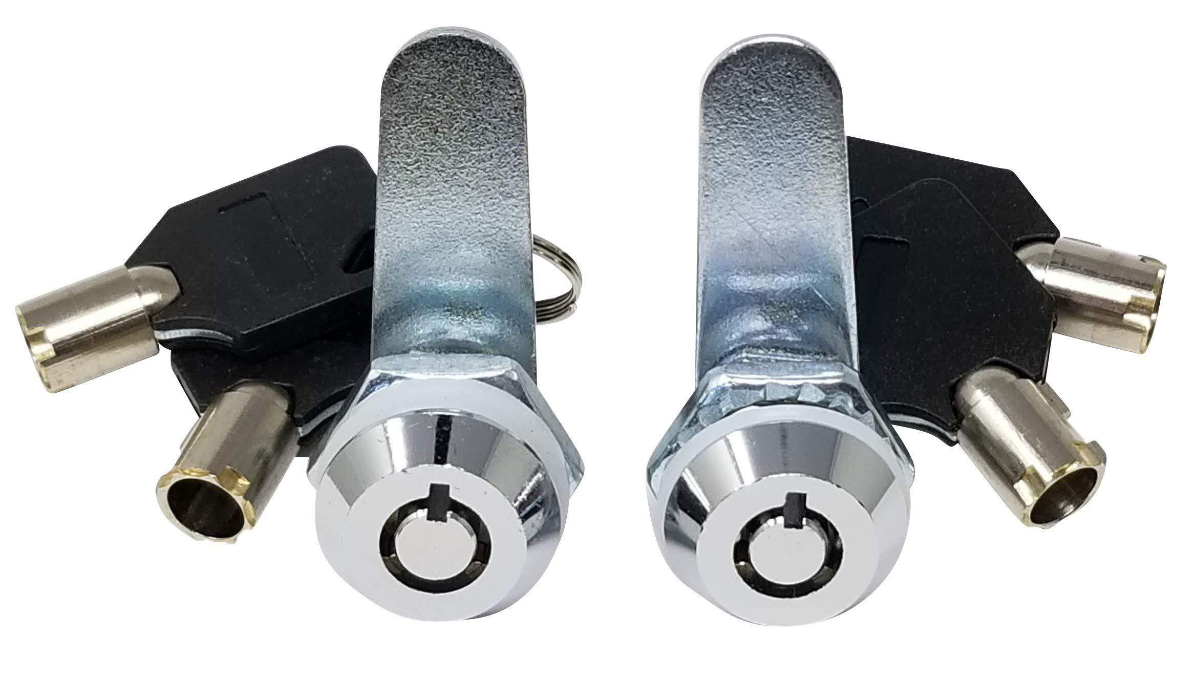 Tubular Cam Lock with 5/8'' Cylinder and Chrome Finish, Keyed Alike (Pack of 2)