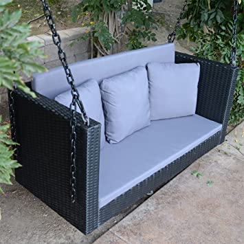 Miraculous Amazon Com Dbm Imports 57 5 Black Wicker Porch Swing Pdpeps Interior Chair Design Pdpepsorg